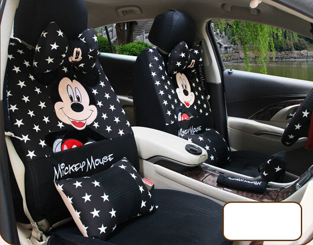 1 Set Black Star Universal Four Season Cartoon Mickey Mouse Car Seat Cover Covers Steering