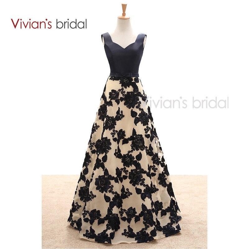 Vivian's Bridal Elegant A Line Evening Dresses Satin Floral Print Lace Long Formal Evening Gown Floor Length Women Party Dresses 8