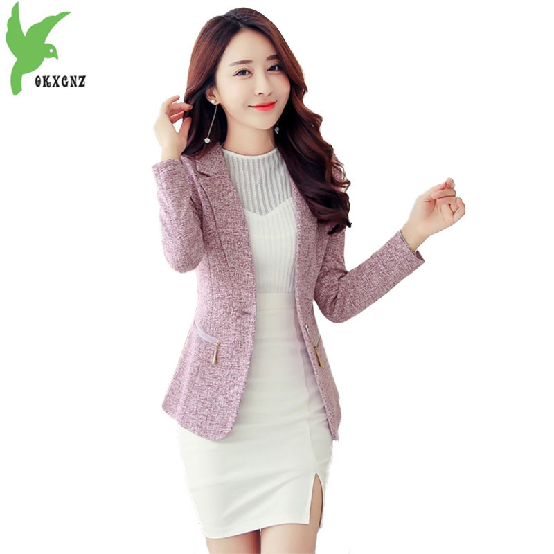 Short blazers jackets for women 2018 spring Long sleeve small suit Casual top Plus size Short jacket female dungarees OKXGNZ1830