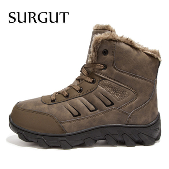 SURGUT Brand Winter Fur Supper Warm Snow Boots For Men Adult Male Shoes Non Slip Rubber Casual Work Safety Casual Ankle Boots