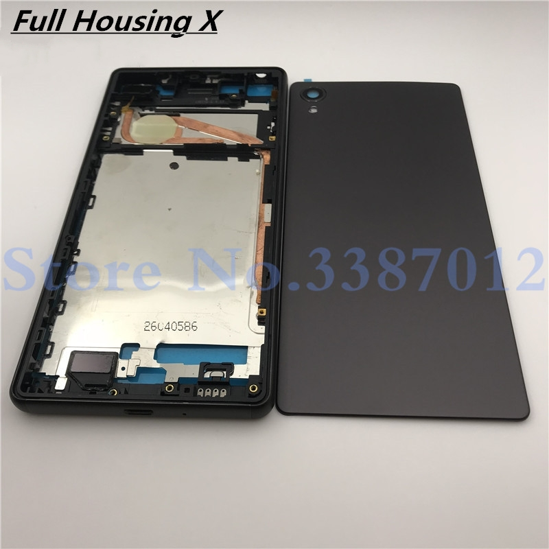 Original Full Housing LCD Panel Middle Frame Case Battery Door Cover Side Button For Sony Xperia X F5121 F5122 Repair Parts
