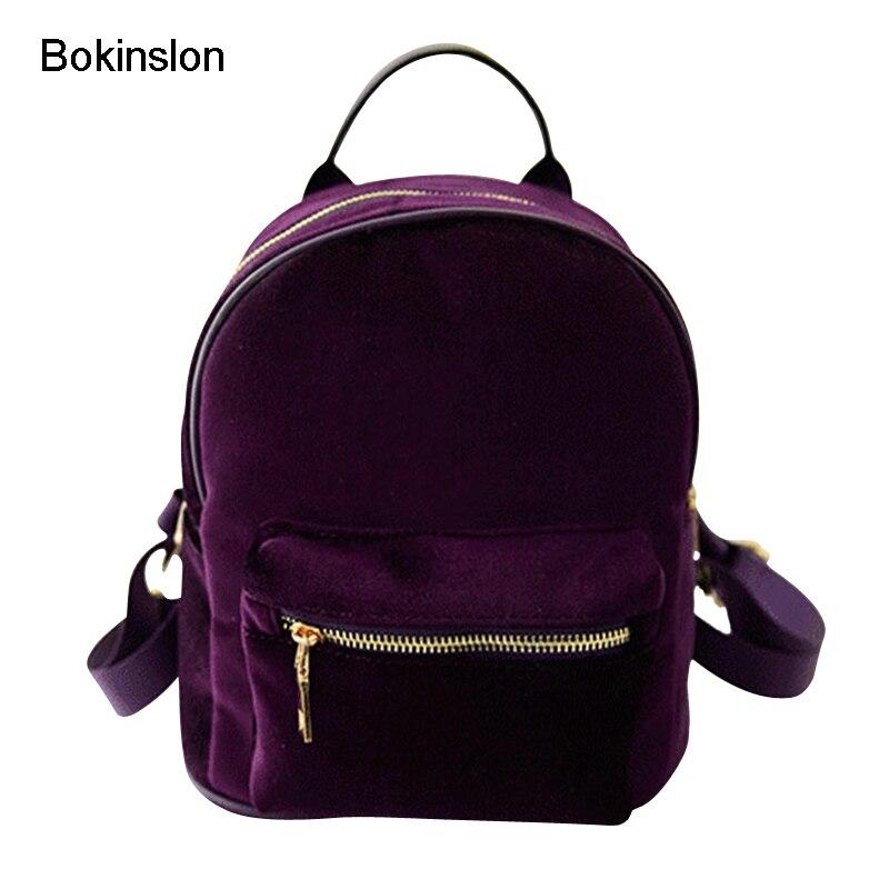 Bokinslon Fashion Girl s Backpack Famous Brand Gold Velvet Backpack Women Designers Casual All Match Backpack