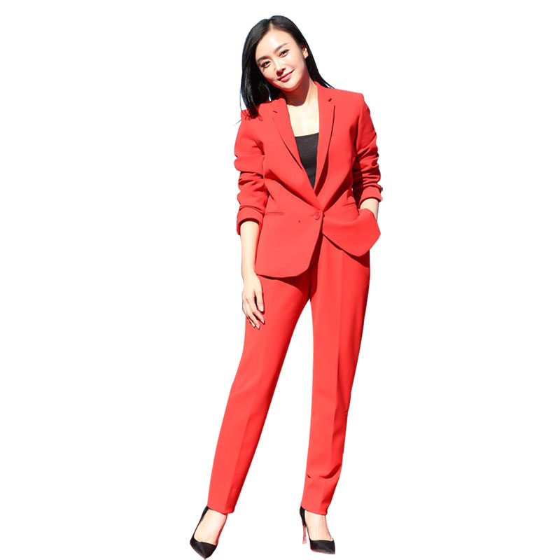 Set female 2019 spring and autumn new red suit feet pants two-piece fashion temperament loose wild color women's clothes