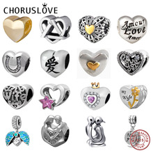 Choruslove Love Heart Charm 925 Sterling Silver Wife Girlfriend Beads Fit Original Pandora Charms Valentine's Day Gift Bracelets цены онлайн