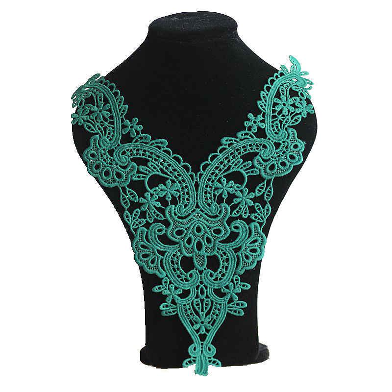 1 шт. ожерелье с зеленым цветком кружевной воротник отделка вышитым кружевом для шитья фабрикс отделка кружево своими руками ткань аппликация на вырез горловины Шитье