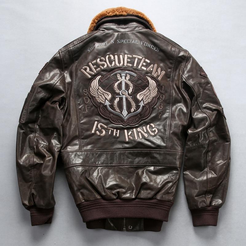 Factory 2019 New Men Black Air force flight A1 Pilot Sheepskin Jacket 3D Embroidery Anchor rod Slim Short bomber Jacket