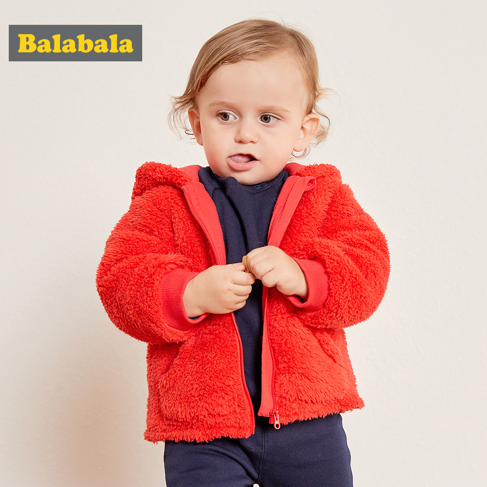 Balabala Infant boys Winter hooded jacket Cute Cloak Coat Style Bow Baby Kids Thick Warm Clothes Newborn Hat Hooded Jackets ballet dress little creative factory