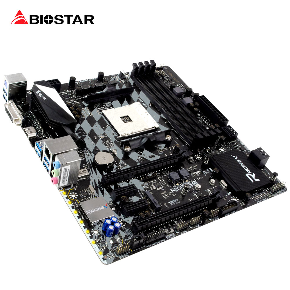 BIOSTAR B350GT3 Super Game Racing Motherboard Computer For AMD Ryzen 1700X 1800X Micro-ATX DDR4 7 Hi-Fi 7Phase Power Desktop