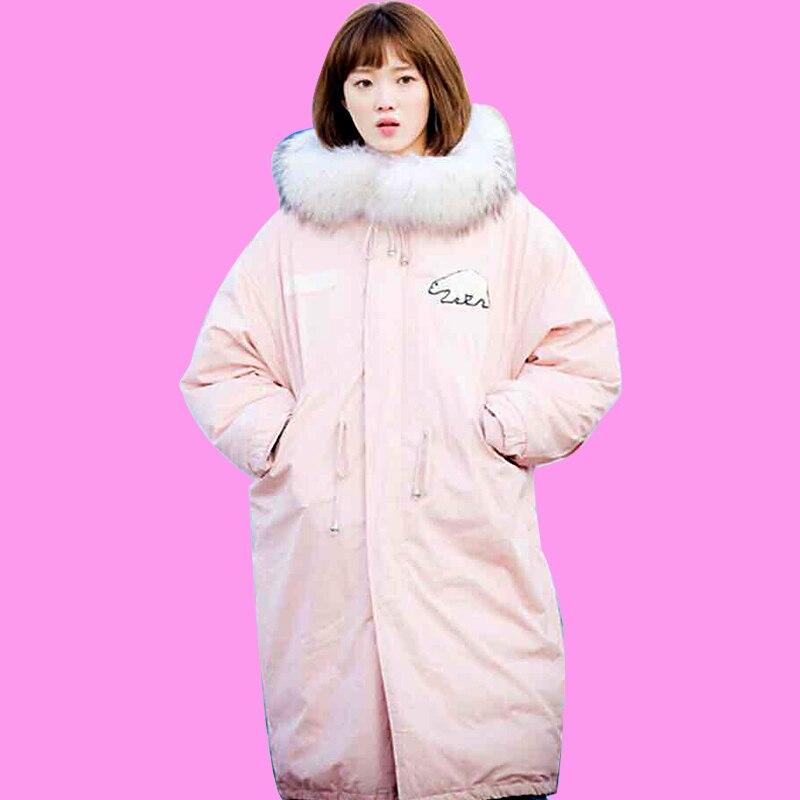 De Long Chaud Ciel Femelle 2017 D'hiver Nouveau rose Noir Parkas Outwear Femmes pu Vestes Blanc Broderie Design Ours Épais Patch Col Fourrure Noir Polaire wpEpq0ZX