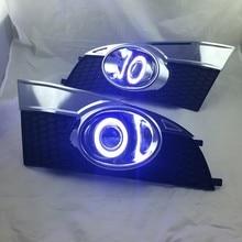 eOsuns Innovative COB angel eye led daytime running light DRL + halo Fog lamp + Projector Lens for chevrolet captiva 2014