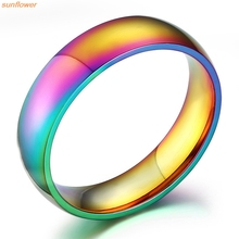 New Style Classic Men Women Rainbow Colorful Ring Titanium Steel Wedding Band Ring Width 6mm Size 6-12 anel Gift