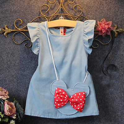 2016 baby toddlers kids girl solid dress minnie mouse sleeveless bag ruffles demin casual dresses 1