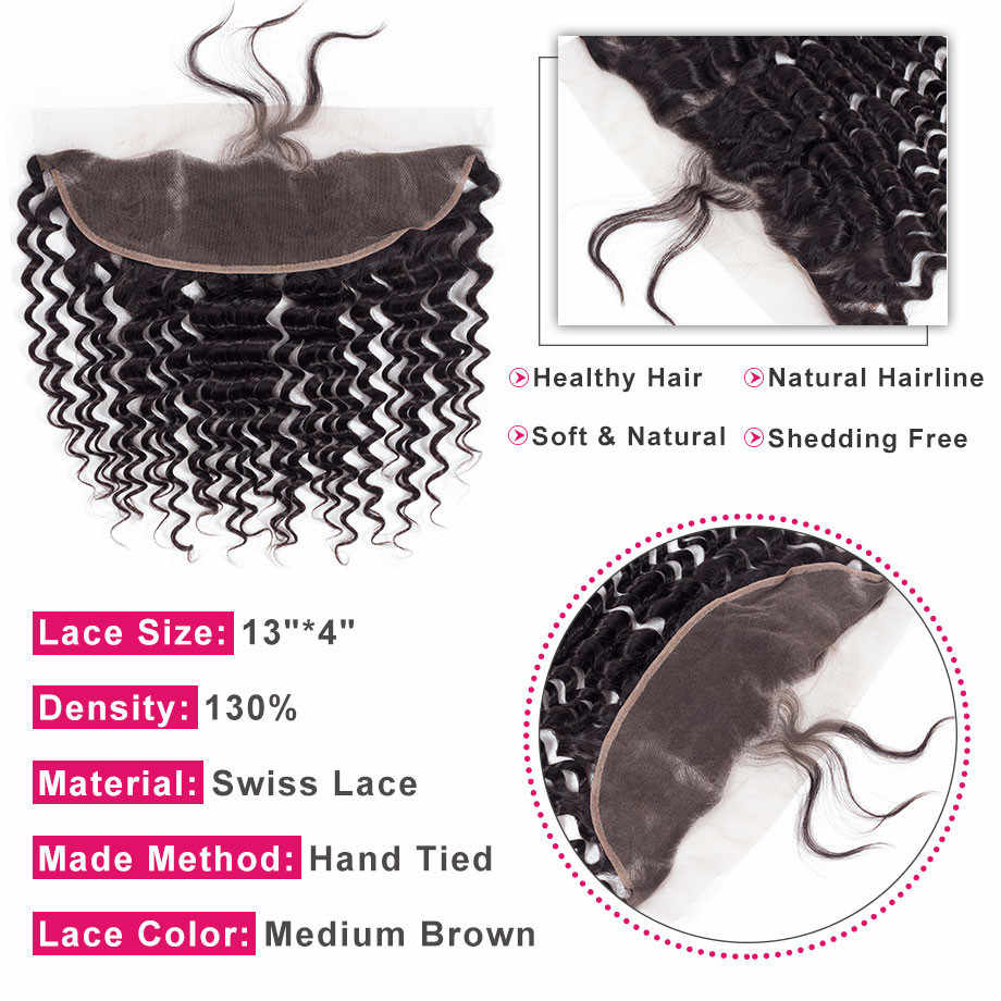 Bling Hair Deep Wave Bundles With Closure 100% Remy Human Hair Extensions Brazilian Hair Weave Bundles With 13*4 Lace Frontal