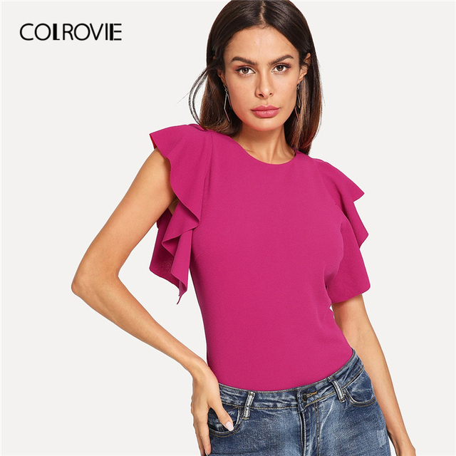 COLROVIE Hot Pink Ruffle Armhole Solid Elegant Blouse Shirt Women 2019 Summer Slim Fit Cap Sleeve Shirts Office Ladies Tops