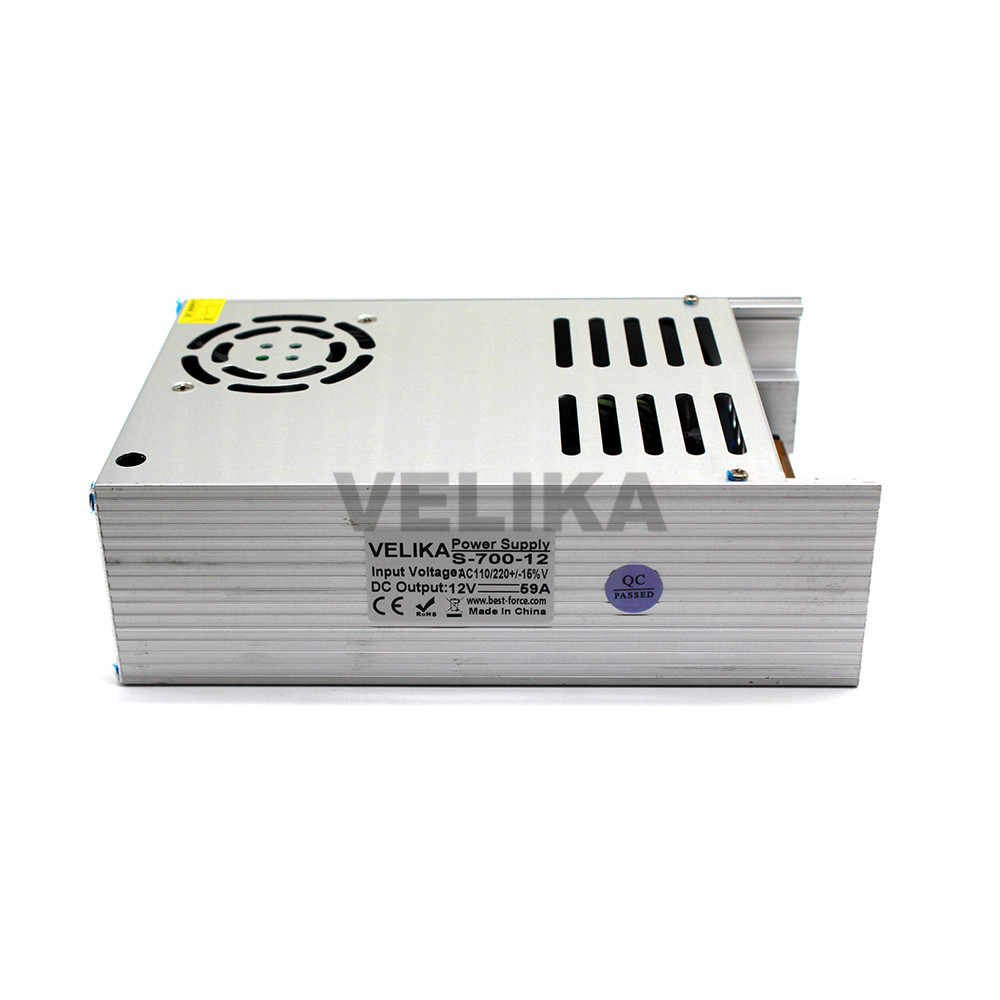 Регулируемый импульсный источник питания DC12V 59A 700 W Драйвер светодиодного освещения трансформатор 220 V 110 V AC DC 12 V источник питания для светодиодного освещения