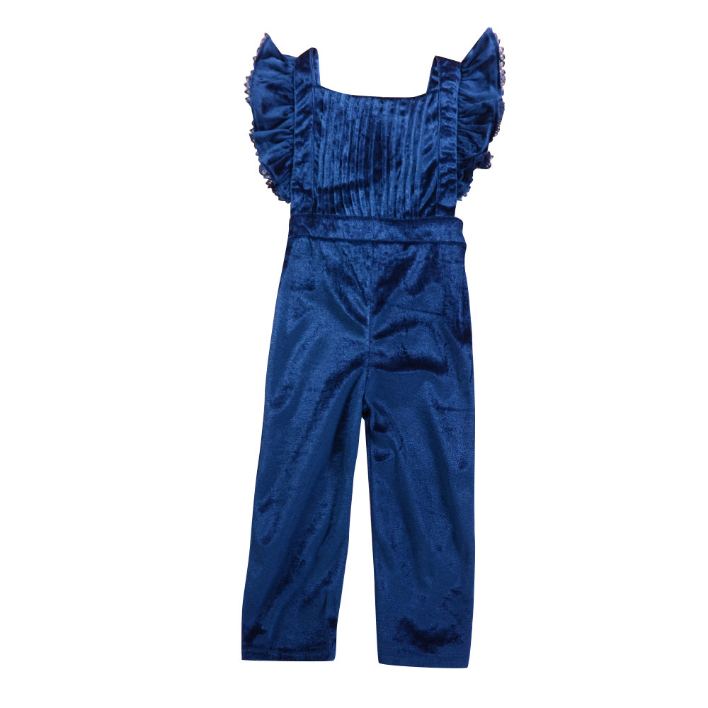 Hot Sale Newborn Summer Ruffles Fly Sleeve Velvet Rompers Cute Toddler Baby Girl Jumpers Rompers Playsuit Outfits Clothes 1-5T