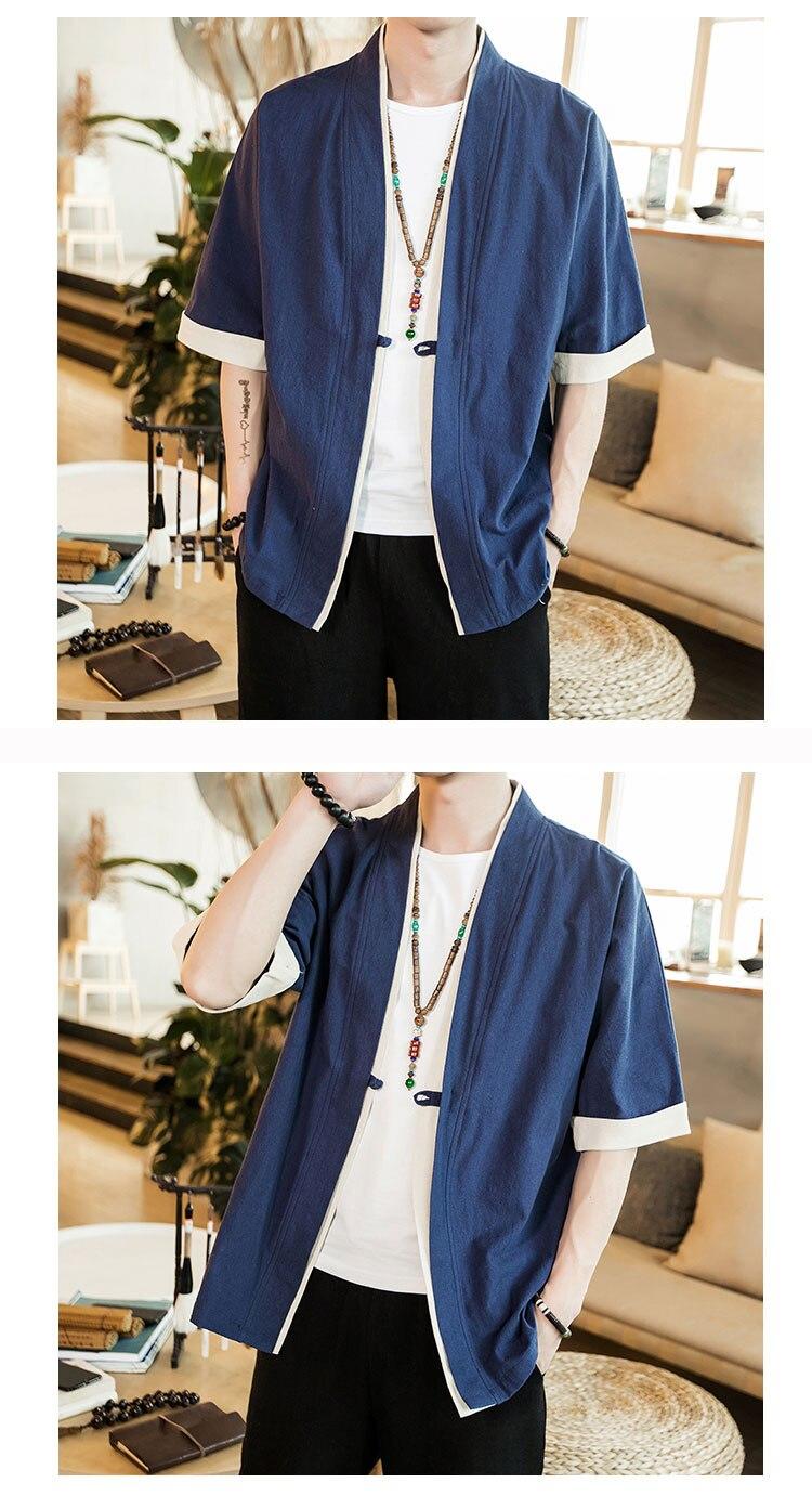 HTB1G7matr1YBuNjSszhq6AUsFXa8 2019 Men Cotton Linen Jacket China Style Kongfu Coat Male Loose Kimono Cardigan Overcoat Open Stitch Coat Mens Windbreaker 5XL