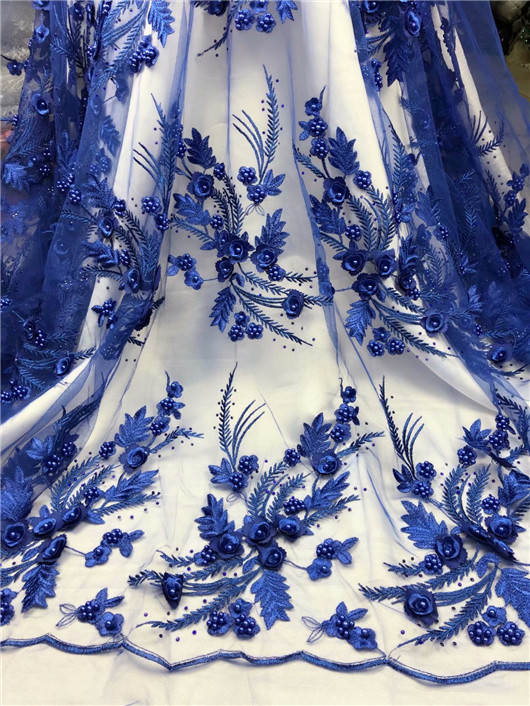 african french lace fabric high quality 2018 3d flower fabric royal blue nigerian wedding lace hot