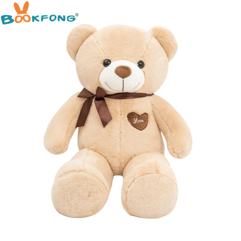 80cm/100cm Large Teddy Bear Plush Toy Cute Huge Stuffed Soft Bear Wear Bowknot Bear Kids Toy Birthday Gift For Girlfriend fancytrader biggest in the world pluch bear toys real jumbo 134 340cm huge giant plush stuffed bear 2 sizes ft90451
