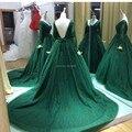 Long Sleeves Plus Size Evening Dresses Vestidos De Fiesta 2016 Hunter Green Women Formal Backless Prom Dresses