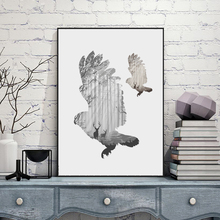 CV Silhouette of a flying owl with pine forest Canvas Painting Poster, FA396-6