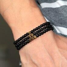 Mode 4 Mm Black Matte Obsidiaan Armband Minimalistische Yoga Gebed Kralen Armband Voor Mannen Polsbandje Mala Sieraden Homme Bileklik