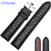 UYOUNG Watchband Deluxe alligator Leather Mens Watchband 18mm 19mm 20mm 21mm 22mm Black Strap buckle with