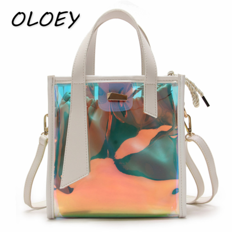 8ed272652570 3 Colors Women PVC Crossbody Bag Lady Laser Fashion Holographic Transparent  Clear Tote Handbag Girls Beach Style Bucket Bag -in Top-Handle Bags from  Luggage ...