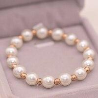 Elegant Ladys Pearl Titanium Steel Bead Bracelet Women Rose Gold Color Simple Fashion Female Imitated Pearl