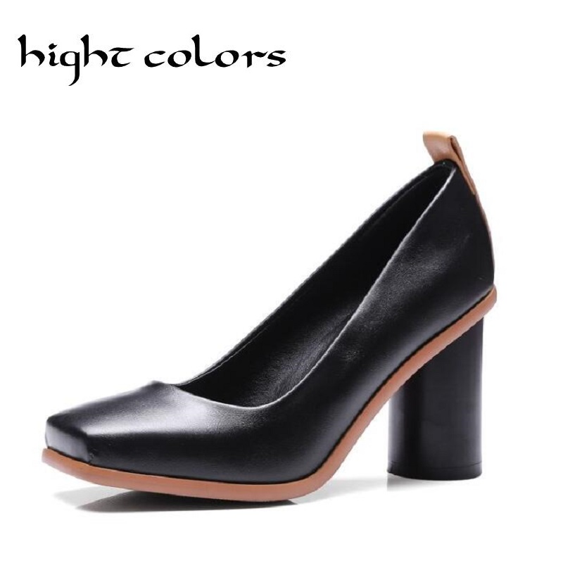 Plus Size Women Pumps Black White Fashion Square Toe Shallow Mouth High-Heeled Shoes Thick Heels Work Office Lady Women's Shoes korean woman high heel pointed toe solid mujer pumps shallow mouth square heels womens shoes work office lady all match tacones