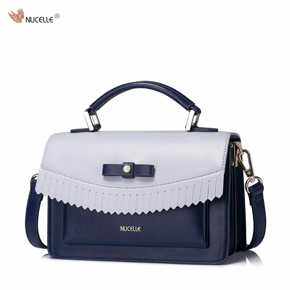 2017 New NUCELLE Brand Design Pearl Bow Tassel High Quality Soft PU Leather Women Lady Handbag Shoulder Crossbody Flap Bags nucelle brand design vintage luxury leopard with horse coat cow leather women ladies handbag shoulder crossbody flap bags