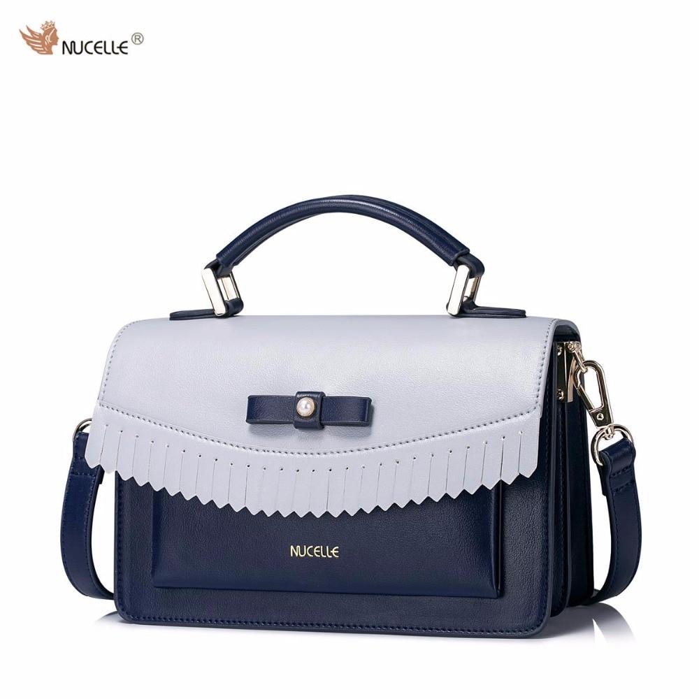 2017 New NUCELLE Brand Design Pearl Bow Tassel High Quality Soft PU Leather Women Lady Handbag Shoulder Crossbody Flap Bags