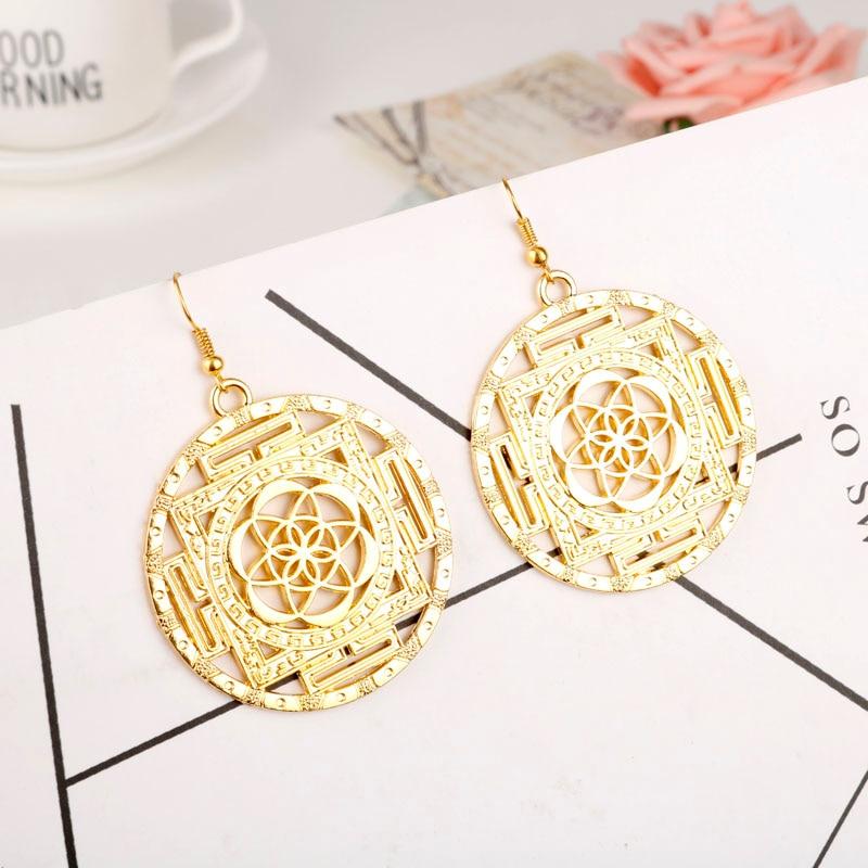 Women's Flower of Life Drop Earrings 3