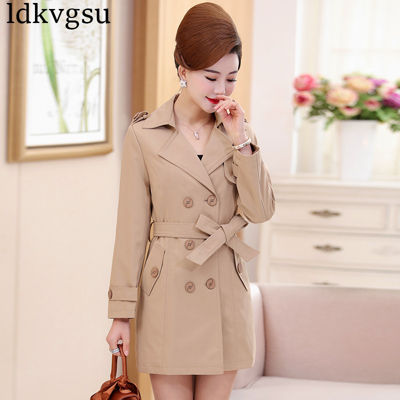 2019 khaki navy windbreaker female Spring New Double Breasted Middle-aged Women Autumn Large Size long   Trench   Coats V294