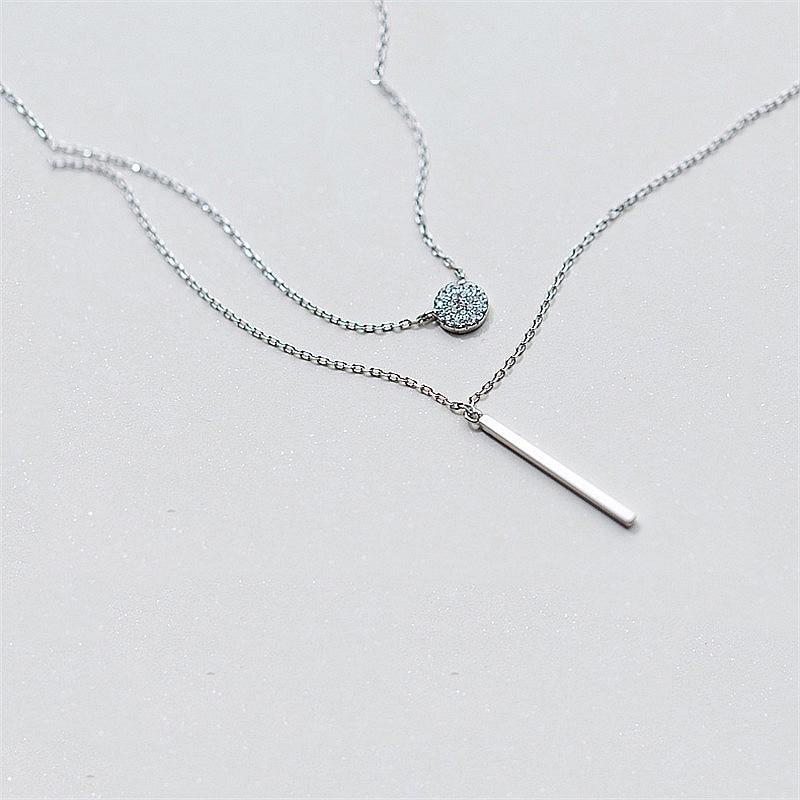 INZATT Real 925 Sterling Silver Elegant Double Layer Geometric Pendant Necklace Fine Jewelry For Women Wedding Party Bijoux