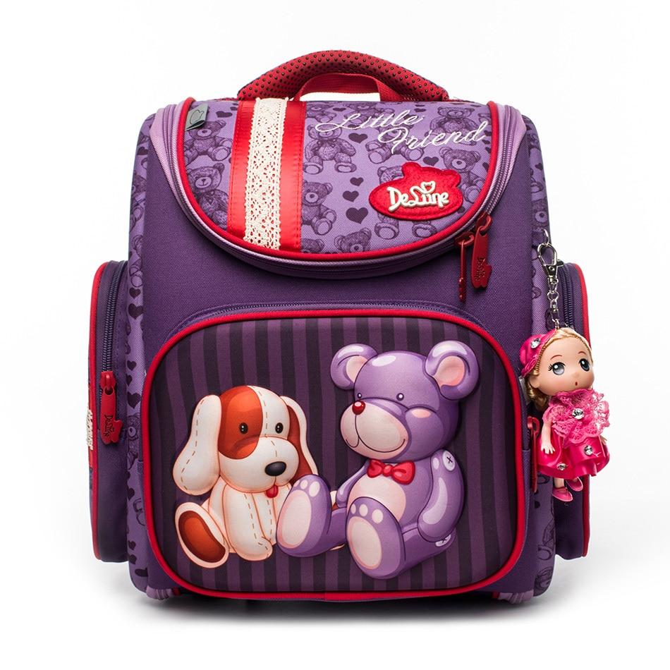 Russian Style Cute Bear School Bags for Girl Folded Waterproof Orthopedic Backpack Mochila Infantil Pupils Protect Spine Kid Bag