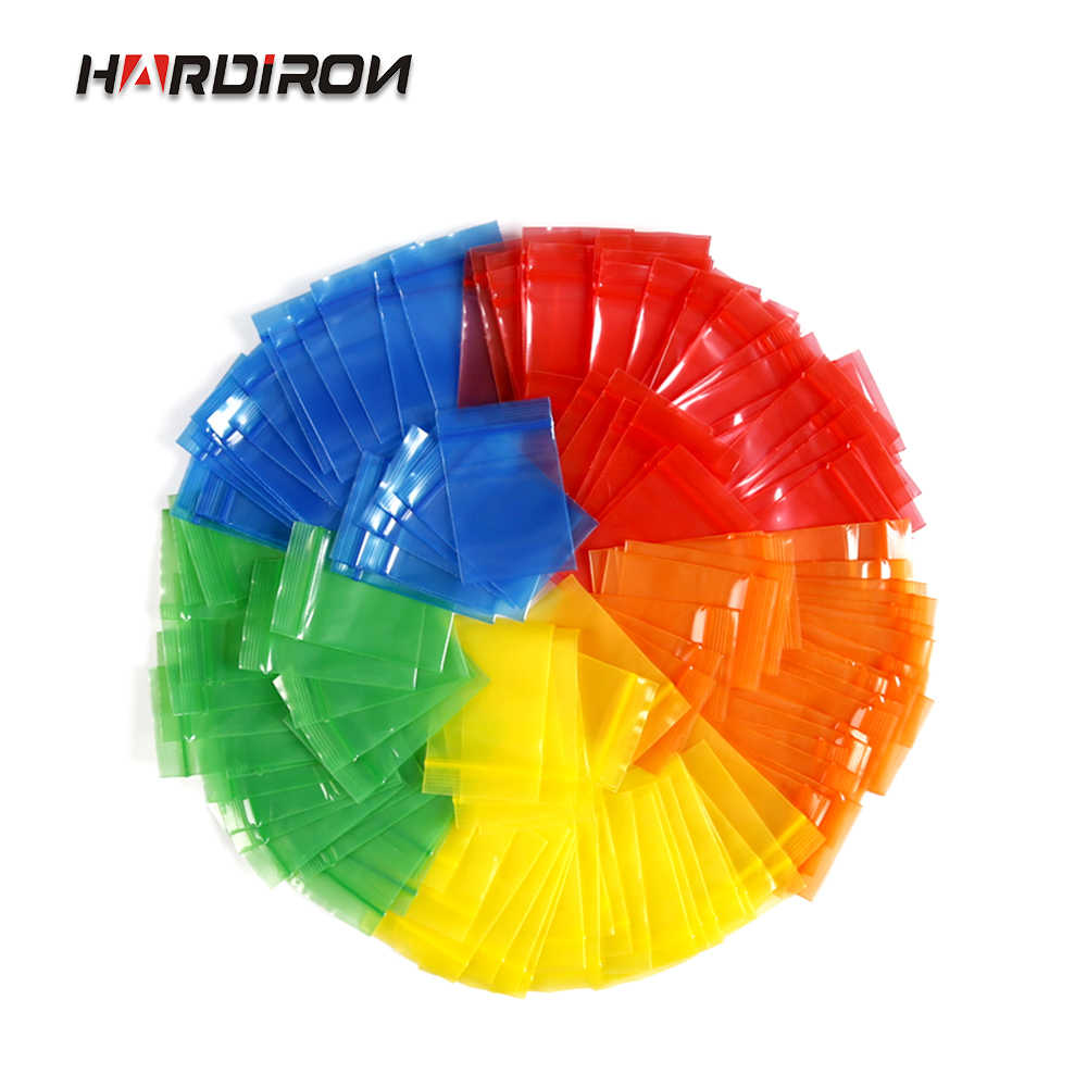 HARDIRON 500PCS Five Color Red Yellow Blue Green Orange Zipper Sealed Bag Jewelry Powder Storage Plastic Package Pouchs