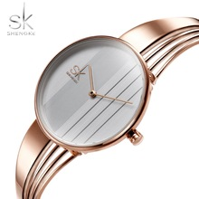 2018 New Shengke Fashion Lady Orologio al quarzo Inner Shadow 3D Creative Watch Donna Relogio Feminino RoseGold Openwork Gift Box Saat