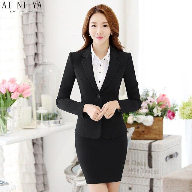 682bcd233 € 81.1 |Mujeres falda trajes negro elegante Oficina señora Blazer falda  traje Formal mujeres negocios traje mujer ropa de trabajo mujer traje de ...