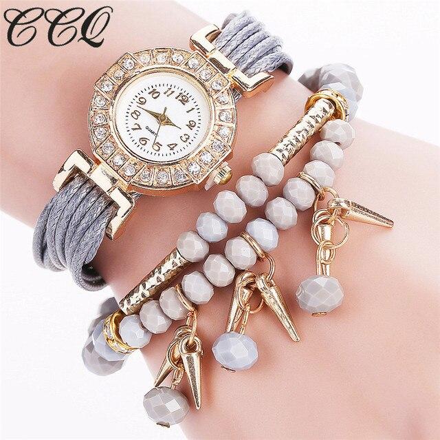CCQ Brand Women Luxury Crystal Bracelet Watch Fashion Female Vintage Jewelry Quartz Wristwatch Drop Shipping C62
