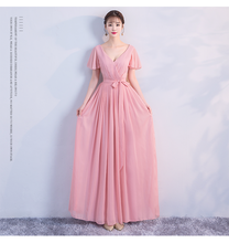 Long Chiffon Bridesmaid Dress for Wedding Party  Ladies Long Gowns Red Bean Pink v neck red bean pink colour above knee mini dress satin dress women wedding party bridesmaid dress back of bandage