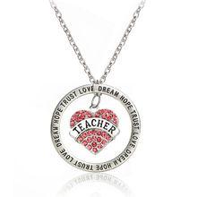 Love Heart for Teacher Dream Hope Trust Crystal Rhinestone Pendant