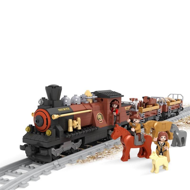 Ausini 483Pcs Railway Train Blocks Assembling bricks Toys Model playmobil educational toys for children compatible lepin technic
