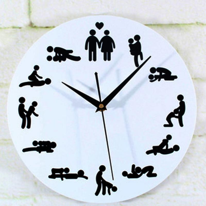 novelty design 1pc sex position clock novelty silent wall clock for wedding lover sexual culture wall