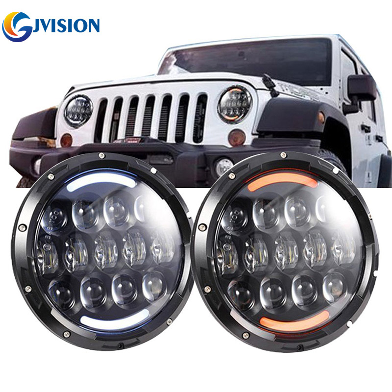 7'' Car led headlight for Jeep Wrangler Hummer 4X4 Offroad turn signal DRL 7 inch 105W Driving headlights fog headlamp Daymaker