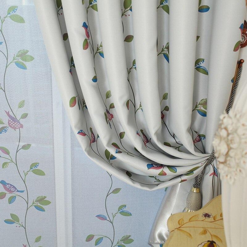 Kuşlar ve Yapraklar Karartma Perdeleri Oturma Odası Yatak Odası Ev - Ev Tekstili - Fotoğraf 3