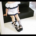 2017 Brand New Girls Leather Shoes Cross-Tied Girls Dance Shoes Plaid+Black Ribbon Kids Studded Shoes for Children Ballet Flats