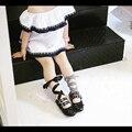 2017 brand new girls girls dance shoes shoes-atado cruz de cuero a cuadros negro + cinta kids shoes tachonado para niños zapatillas de ballet