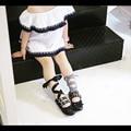 2017 nova marca de couro meninas shoes cross-amarrado meninas dance shoes xadrez + fita preta crianças cravejado shoes para crianças ballet flats