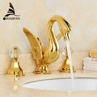 Смесители для умывальника роскошный кран золото 3 отверстия Ванная комната раковина, краны ручки лебедь кран Золотой Керамика Ванная комна